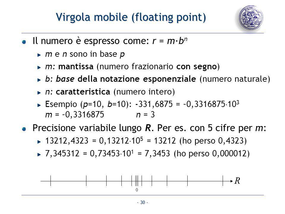 - 30 - Virgola mobile (floating point) Il numero è espresso come: r = m·b n m e n sono in base p m: mantissa (numero frazionario con segno) b: base de