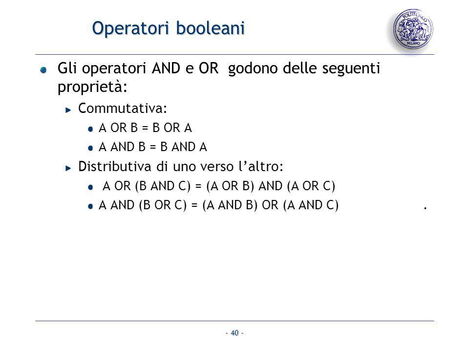 - 40 - Operatori booleani Gli operatori AND e OR godono delle seguenti proprietà: Commutativa: A OR B = B OR A A AND B = B AND A Distributiva di uno v