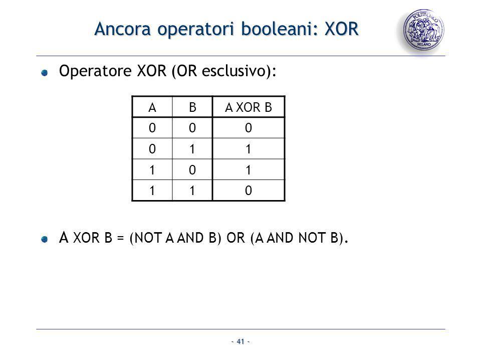 - 41 - Ancora operatori booleani: XOR Operatore XOR (OR esclusivo): A XOR B = (NOT A AND B) OR (A AND NOT B). ABA XOR B 000 011 101 110