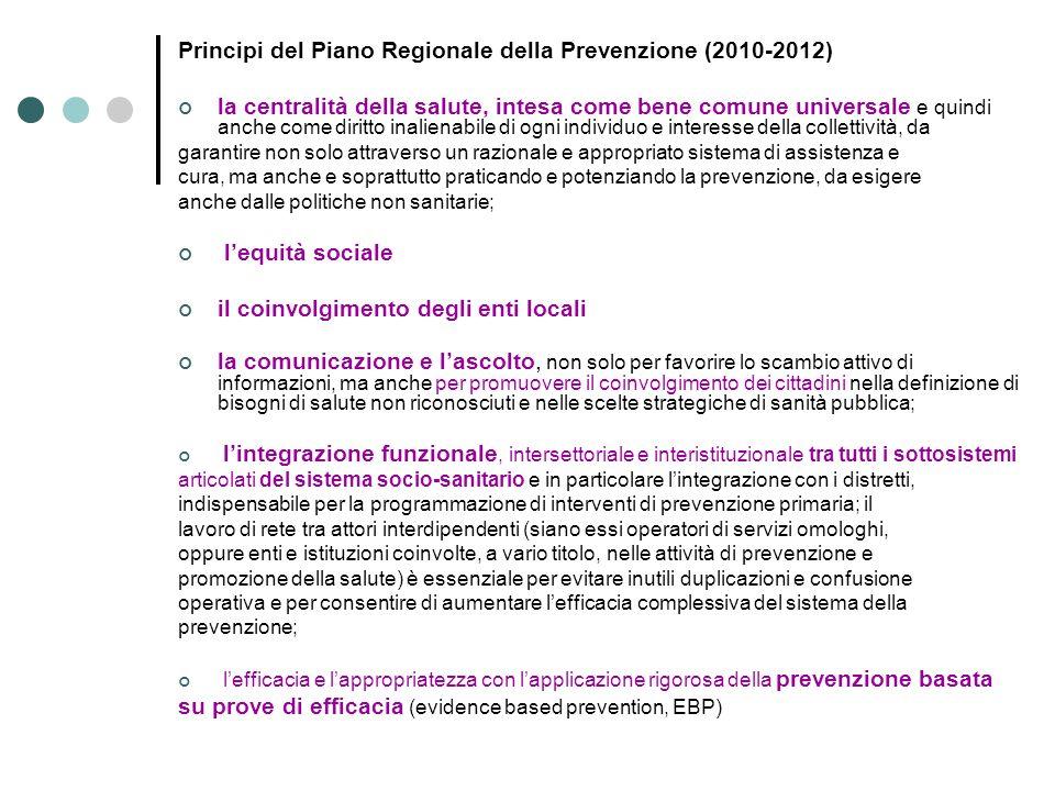 Principi del Piano Regionale della Prevenzione (2010-2012) la centralità della salute, intesa come bene comune universale e quindi anche come diritto