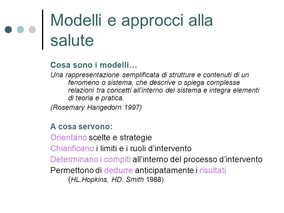 Modelli e approcci alla salute Cosa sono i modelli… Una rappresentazione semplificata di strutture e contenuti di un fenomeno o sistema, che descrive