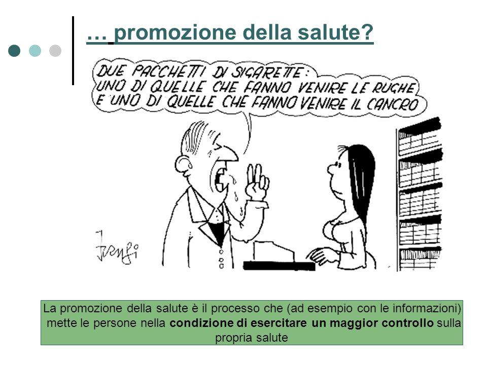 La promozione della salute è il processo che (ad esempio con le informazioni) mette le persone nella condizione di esercitare un maggior controllo sul