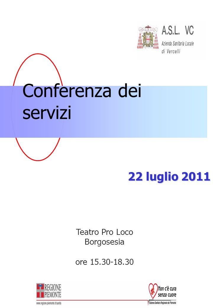 Conferenza dei servizi 22 luglio 2011 Teatro Pro Loco Borgosesia ore 15.30-18.30