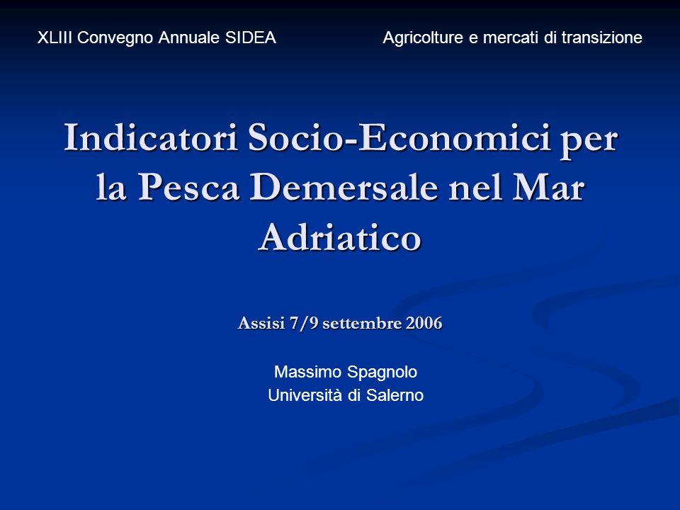 Indicatori Socio-Economici per la Pesca Demersale nel Mar Adriatico Assisi 7/9 settembre 2006 Massimo Spagnolo Università di Salerno XLIII Convegno An