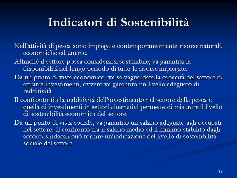 17 Indicatori di Sostenibilità Nellattività di pesca sono impiegate contemporaneamente risorse naturali, economiche ed umane. Affinché il settore poss