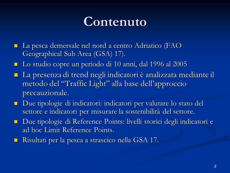 3 Pesca demersale nellarea italiana della GSA 17 Flotta a strascico: 990 battelli (26% del totale) 990 battelli (26% del totale) 29.145 TSL (71% del totale) 29.145 TSL (71% del totale) 35.224 t di prodotto (47% del totale) 35.224 t di prodotto (47% del totale) 196 Mln (53% del totale) 196 Mln (53% del totale) Fonte: IREPA