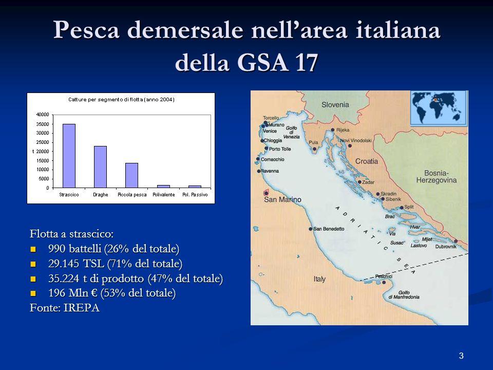 3 Pesca demersale nellarea italiana della GSA 17 Flotta a strascico: 990 battelli (26% del totale) 990 battelli (26% del totale) 29.145 TSL (71% del t