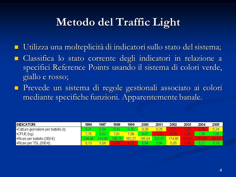 4 Metodo del Traffic Light Utilizza una molteplicità di indicatori sullo stato del sistema; Utilizza una molteplicità di indicatori sullo stato del si