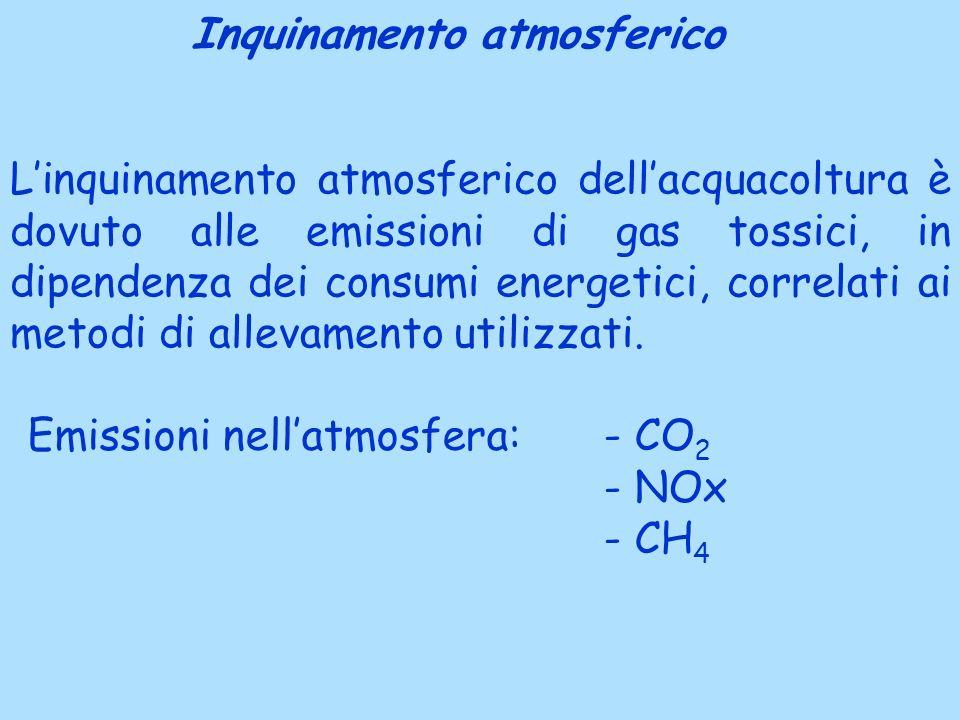 Linquinamento atmosferico dellacquacoltura è dovuto alle emissioni di gas tossici, in dipendenza dei consumi energetici, correlati ai metodi di allevamento utilizzati.