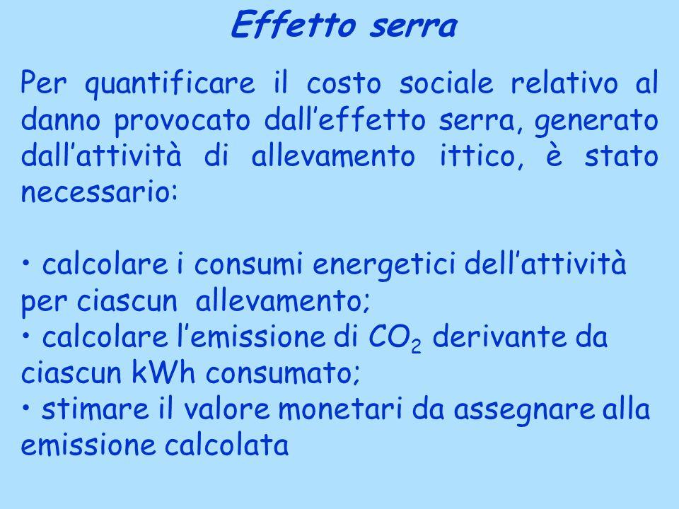 Effetto serra Per quantificare il costo sociale relativo al danno provocato dalleffetto serra, generato dallattività di allevamento ittico, è stato ne
