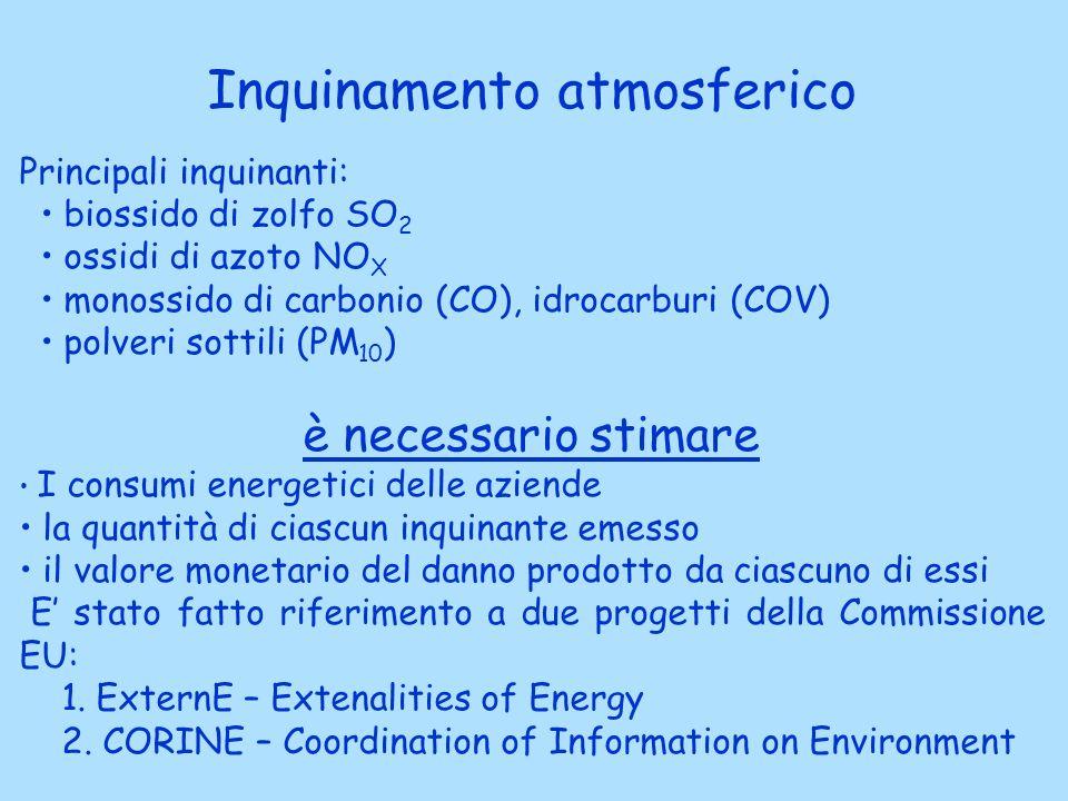 Inquinamento atmosferico Principali inquinanti: biossido di zolfo SO 2 ossidi di azoto NO X monossido di carbonio (CO), idrocarburi (COV) polveri sottili (PM 10 ) è necessario stimare I consumi energetici delle aziende la quantità di ciascun inquinante emesso il valore monetario del danno prodotto da ciascuno di essi E stato fatto riferimento a due progetti della Commissione EU: 1.