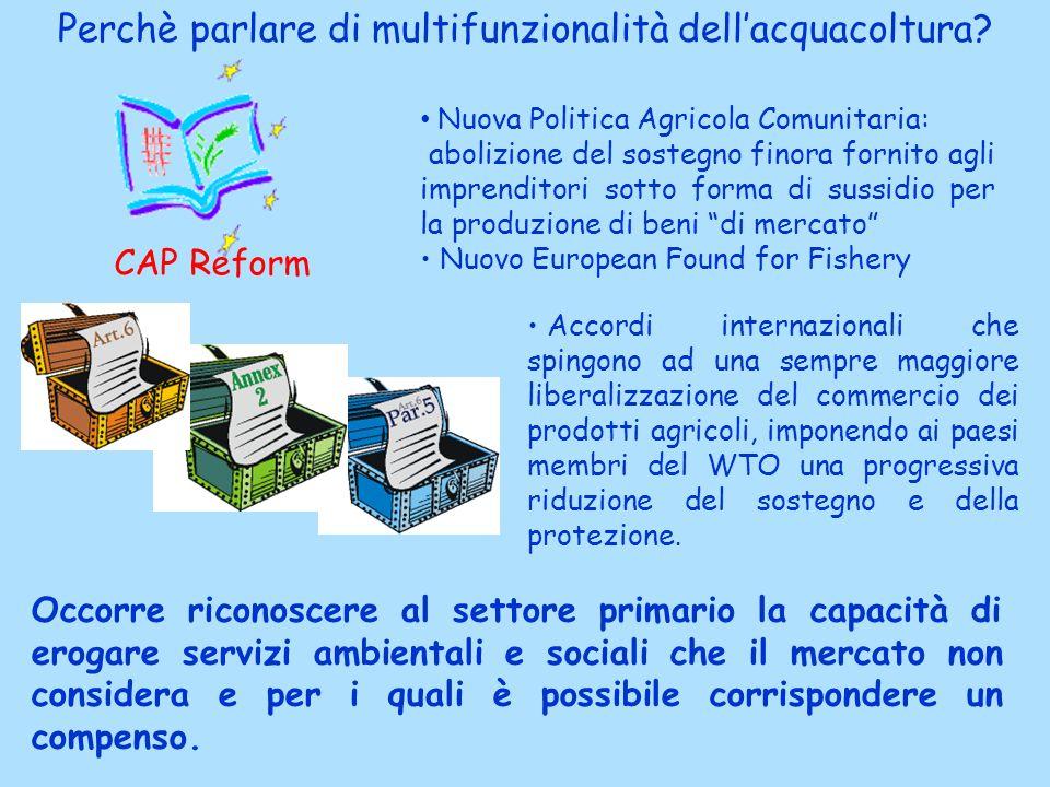 Perchè parlare di multifunzionalità dellacquacoltura? CAP Reform Nuova Politica Agricola Comunitaria: abolizione del sostegno finora fornito agli impr