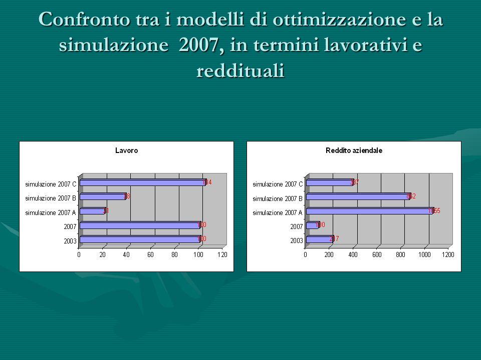 Confronto tra i modelli di ottimizzazione e la simulazione 2007, in termini lavorativi e reddituali