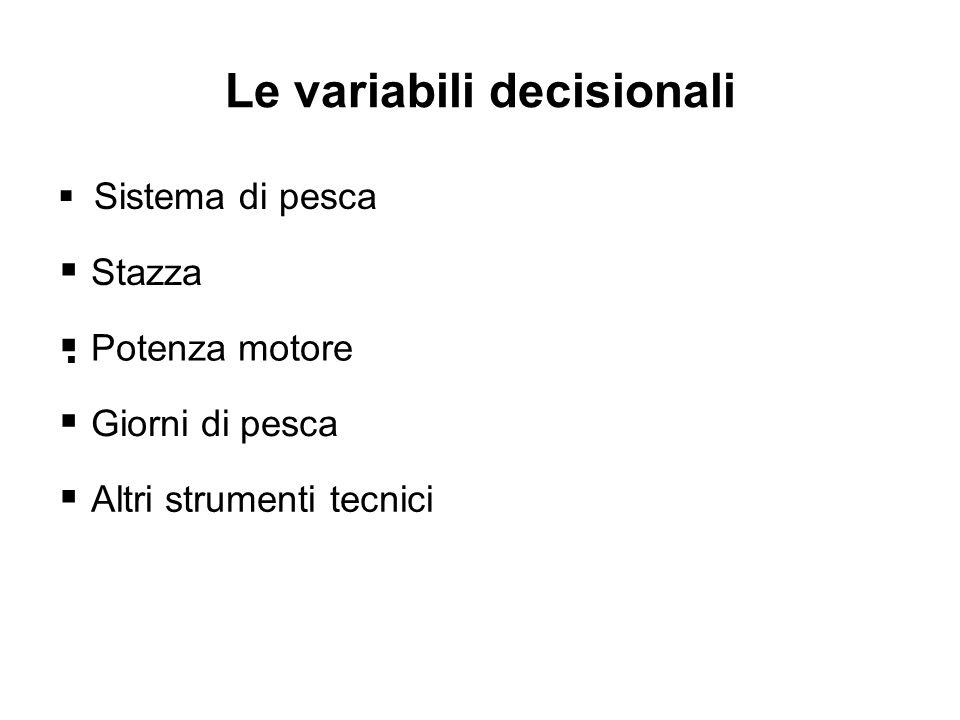 Le variabili decisionali Sistema di pesca Stazza Giorni di pesca Altri strumenti tecnici Potenza motore