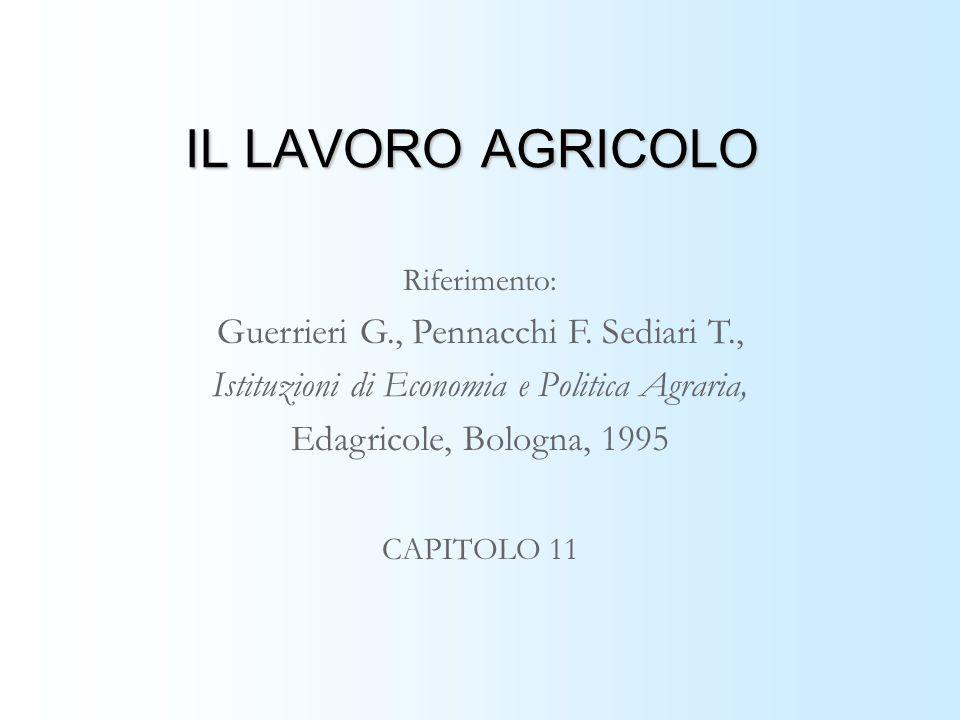 IL LAVORO AGRICOLO Riferimento: Guerrieri G., Pennacchi F.