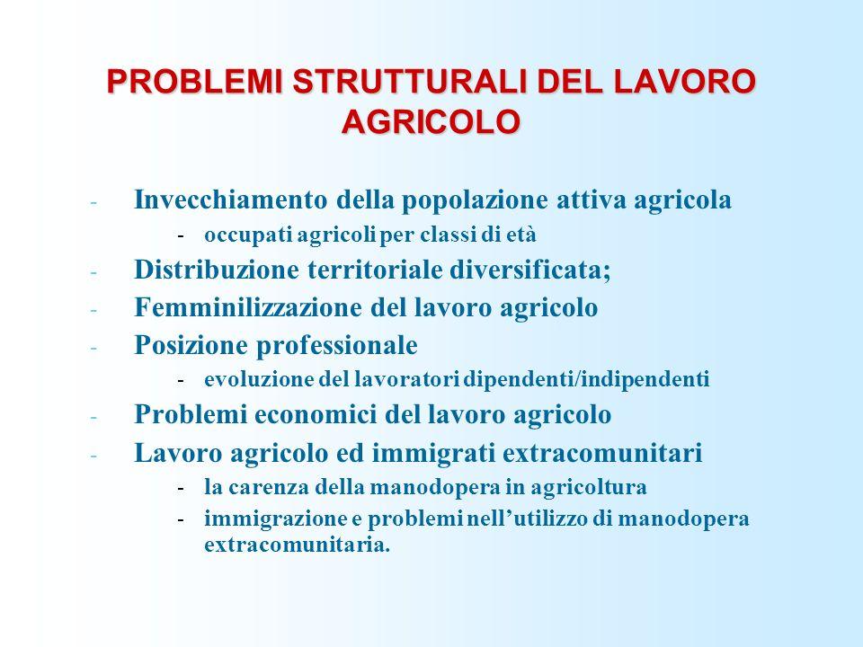 PROBLEMI STRUTTURALI DEL LAVORO AGRICOLO - Invecchiamento della popolazione attiva agricola - occupati agricoli per classi di età - Distribuzione territoriale diversificata; - Femminilizzazione del lavoro agricolo - Posizione professionale - evoluzione del lavoratori dipendenti/indipendenti - Problemi economici del lavoro agricolo - Lavoro agricolo ed immigrati extracomunitari - la carenza della manodopera in agricoltura - immigrazione e problemi nellutilizzo di manodopera extracomunitaria.