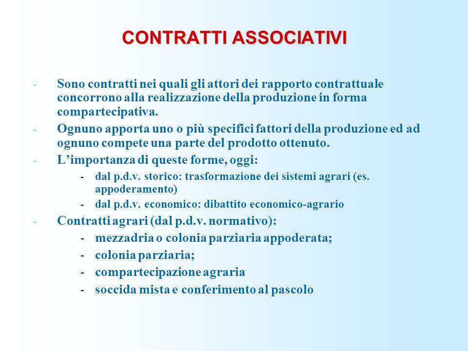 CONTRATTI ASSOCIATIVI - Sono contratti nei quali gli attori dei rapporto contrattuale concorrono alla realizzazione della produzione in forma comparte