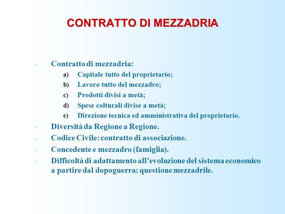 CONTRATTO DI MEZZADRIA - Contratto di mezzadria: a) Capitale tutto del proprietario; b) Lavoro tutto del mezzadro; c) Prodotti divisi a metà; d) Spese