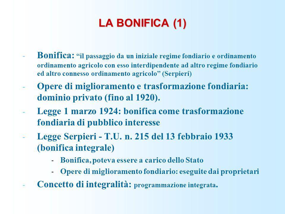 LA BONIFICA (1) - Bonifica: il passaggio da un iniziale regime fondiario e ordinamento ordinamento agricolo con esso interdipendente ad altro regime f