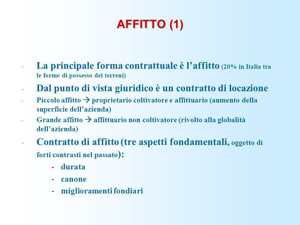 AFFITTO (1) - La principale forma contrattuale è laffitto (20% in Italia tra le forme di possesso dei terreni) - Dal punto di vista giuridico è un con