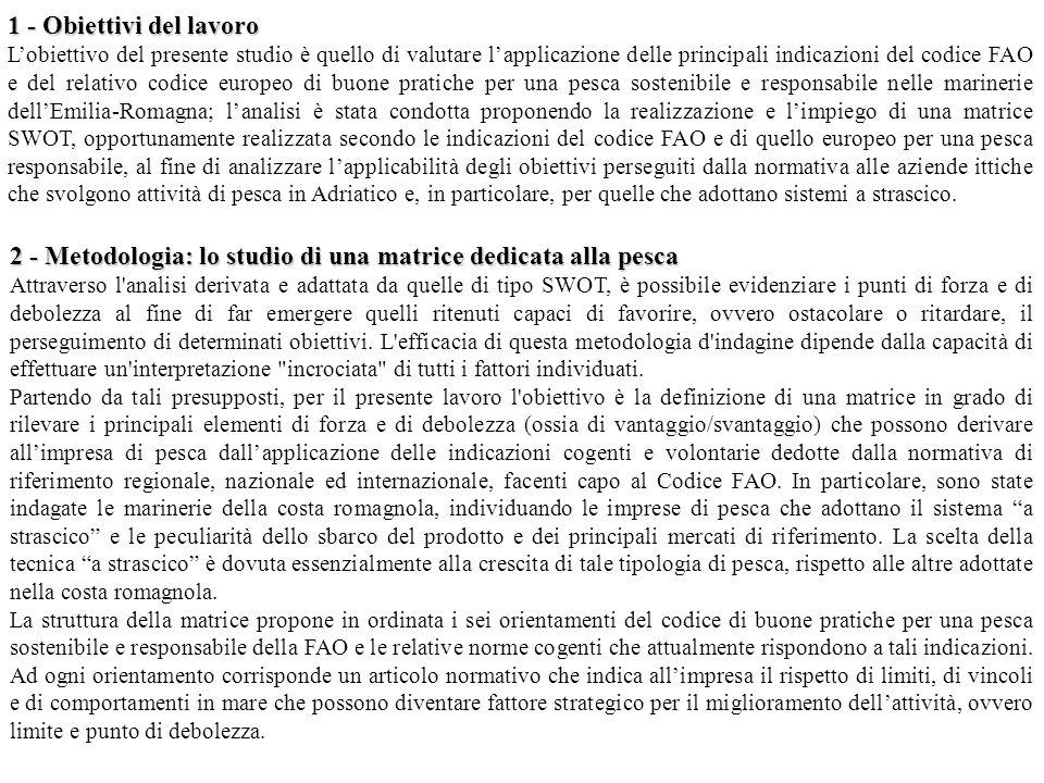 1 - Obiettivi del lavoro Lobiettivo del presente studio è quello di valutare lapplicazione delle principali indicazioni del codice FAO e del relativo