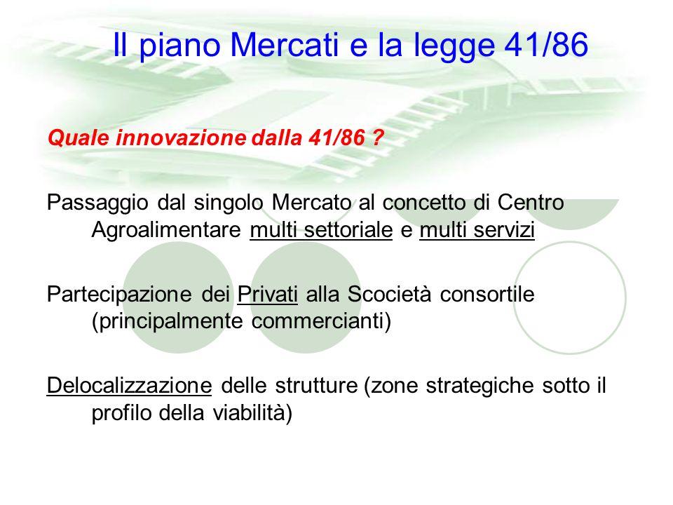 Il piano Mercati e la legge 41/86 Quale innovazione dalla 41/86 .