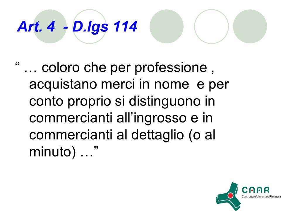 Art. 4 - D.lgs 114 … coloro che per professione, acquistano merci in nome e per conto proprio si distinguono in commercianti allingrosso e in commerci