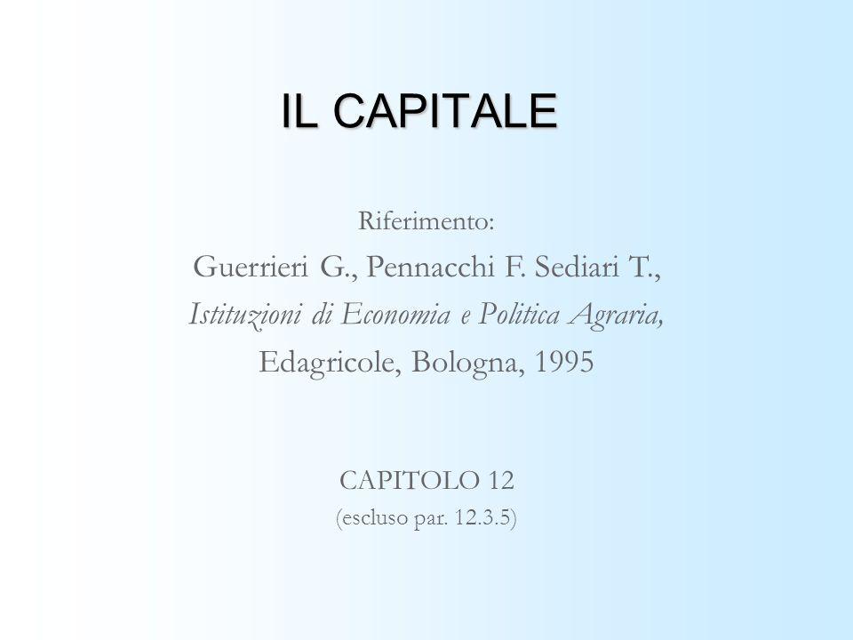 IL CAPITALE Riferimento: Guerrieri G., Pennacchi F. Sediari T., Istituzioni di Economia e Politica Agraria, Edagricole, Bologna, 1995 CAPITOLO 12 (esc