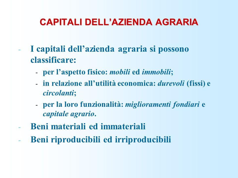 CAPITALI DELLAZIENDA AGRARIA - I capitali dellazienda agraria si possono classificare: - per laspetto fisico: mobili ed immobili; - in relazione allut
