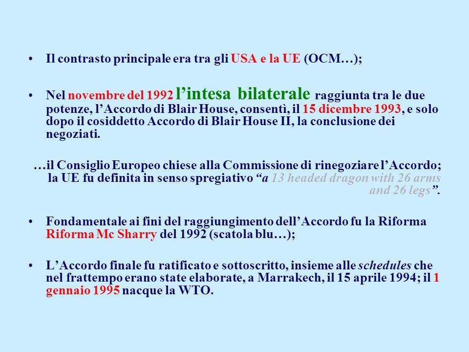 Il contrasto principale era tra gli USA e la UE (OCM…); Nel novembre del 1992 lintesa bilaterale raggiunta tra le due potenze, lAccordo di Blair House