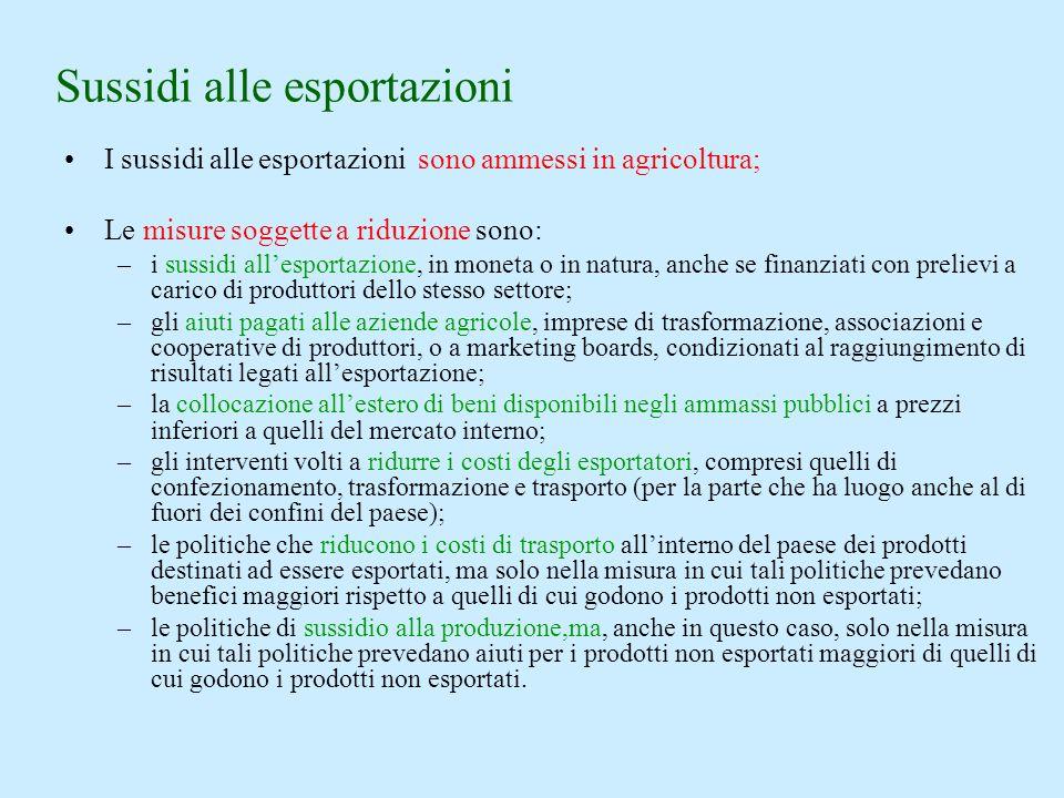I sussidi alle esportazioni sono ammessi in agricoltura; Le misure soggette a riduzione sono: –i sussidi allesportazione, in moneta o in natura, anche