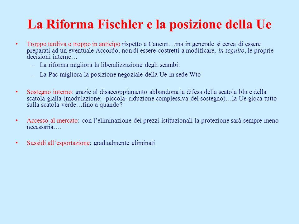 La Riforma Fischler e la posizione della Ue Troppo tardiva o troppo in anticipo rispetto a Cancun…ma in generale si cerca di essere preparati ad un ev
