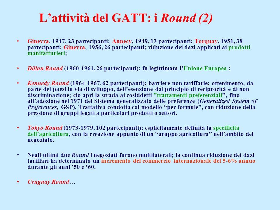 Lattività del GATT: i Round (2) Ginevra, 1947, 23 partecipanti; Annecy, 1949, 13 partecipanti; Torquay, 1951, 38 partecipanti; Ginevra, 1956, 26 parte