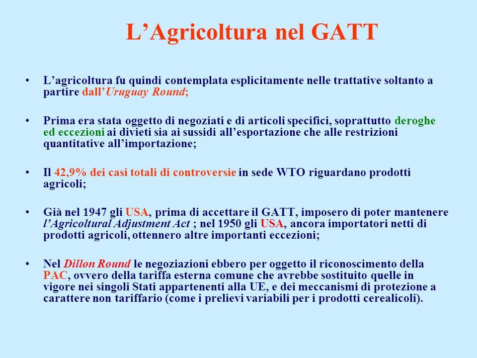 LAgricoltura nel GATT Lagricoltura fu quindi contemplata esplicitamente nelle trattative soltanto a partire dallUruguay Round; Prima era stata oggetto