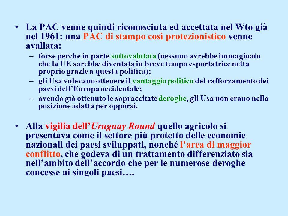 La PAC venne quindi riconosciuta ed accettata nel Wto già nel 1961: una PAC di stampo così protezionistico venne avallata: –forse perché in parte sott