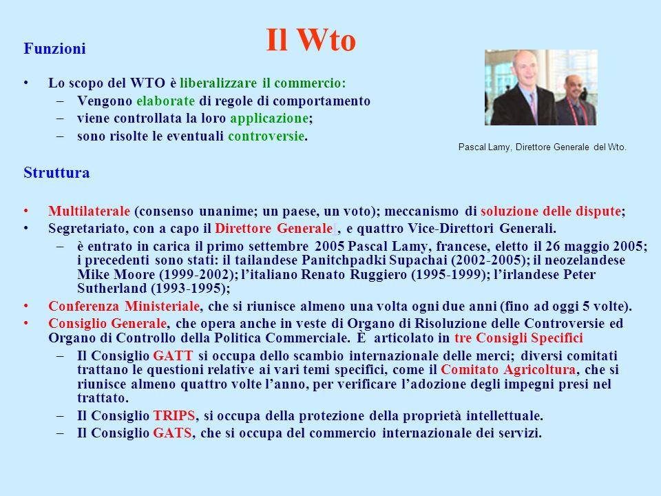 Funzioni Lo scopo del WTO è liberalizzare il commercio: –Vengono elaborate di regole di comportamento –viene controllata la loro applicazione; –sono r