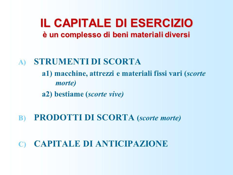 IL CAPITALE DI ESERCIZIO è un complesso di beni materiali diversi A) STRUMENTI DI SCORTA a1) macchine, attrezzi e materiali fissi vari (scorte morte)