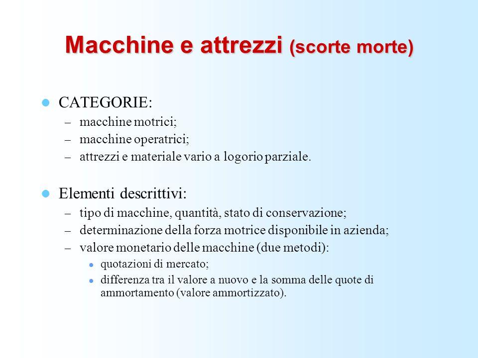 Macchine e attrezzi (scorte morte) CATEGORIE: – macchine motrici; – macchine operatrici; – attrezzi e materiale vario a logorio parziale. Elementi des