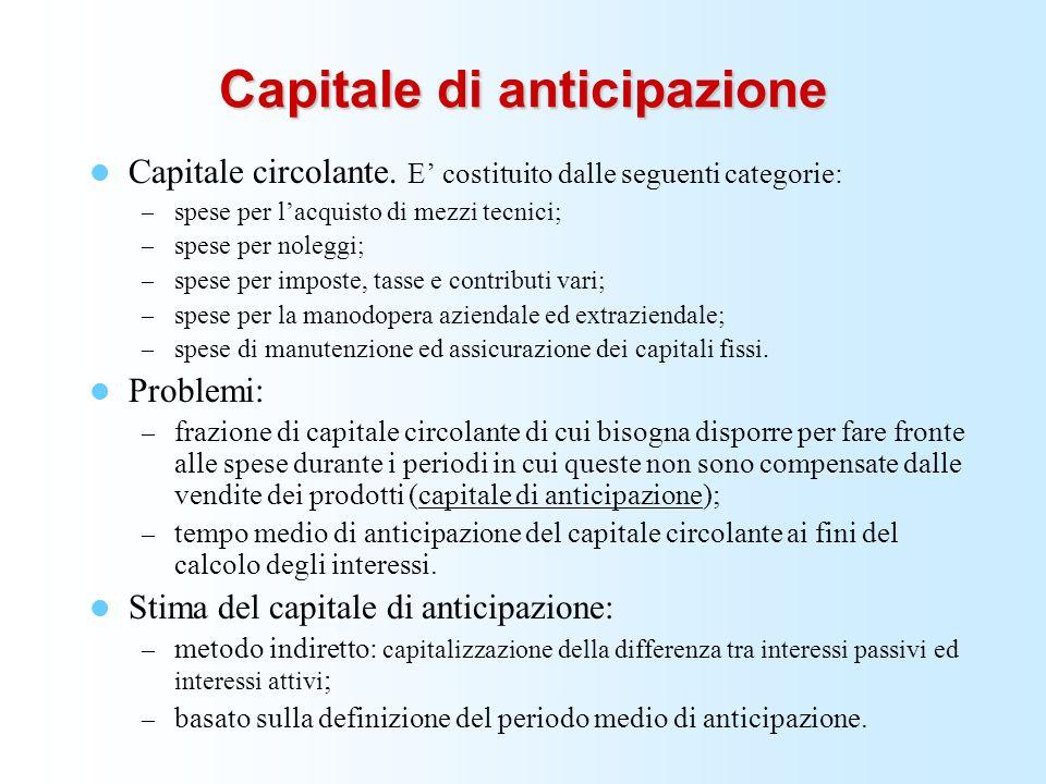 Capitale di anticipazione Capitale circolante. E costituito dalle seguenti categorie: – spese per lacquisto di mezzi tecnici; – spese per noleggi; – s