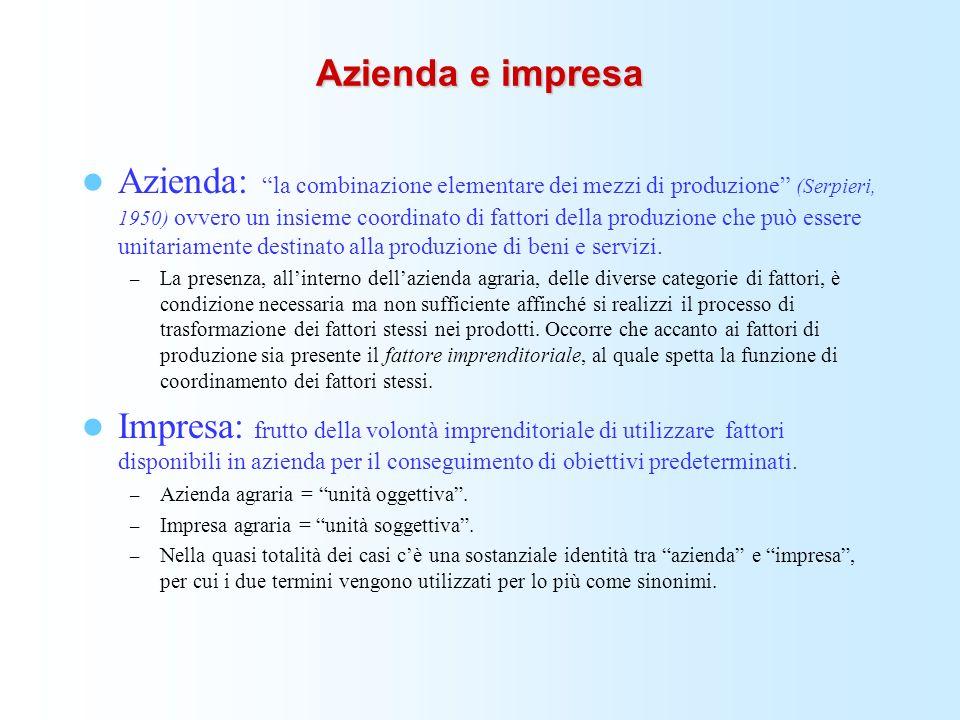 Azienda e impresa Azienda: la combinazione elementare dei mezzi di produzione (Serpieri, 1950) ovvero un insieme coordinato di fattori della produzion