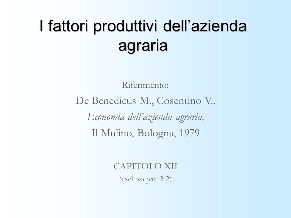 I fattori produttivi dellazienda agraria Riferimento: De Benedictis M., Cosentino V., Economia dellazienda agraria, Il Mulino, Bologna, 1979 CAPITOLO