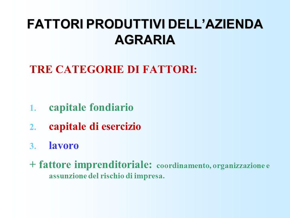 FATTORI PRODUTTIVI DELLAZIENDA AGRARIA TRE CATEGORIE DI FATTORI: 1. capitale fondiario 2. capitale di esercizio 3. lavoro + fattore imprenditoriale: c