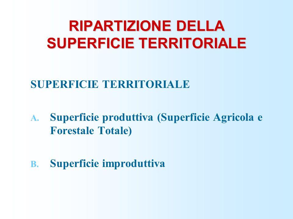 RIPARTIZIONE DELLA SUPERFICIE TERRITORIALE SUPERFICIE TERRITORIALE A. Superficie produttiva (Superficie Agricola e Forestale Totale) B. Superficie imp