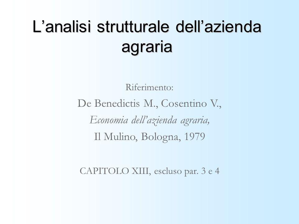 Lanalisi strutturale dellazienda agraria Riferimento: De Benedictis M., Cosentino V., Economia dellazienda agraria, Il Mulino, Bologna, 1979 CAPITOLO