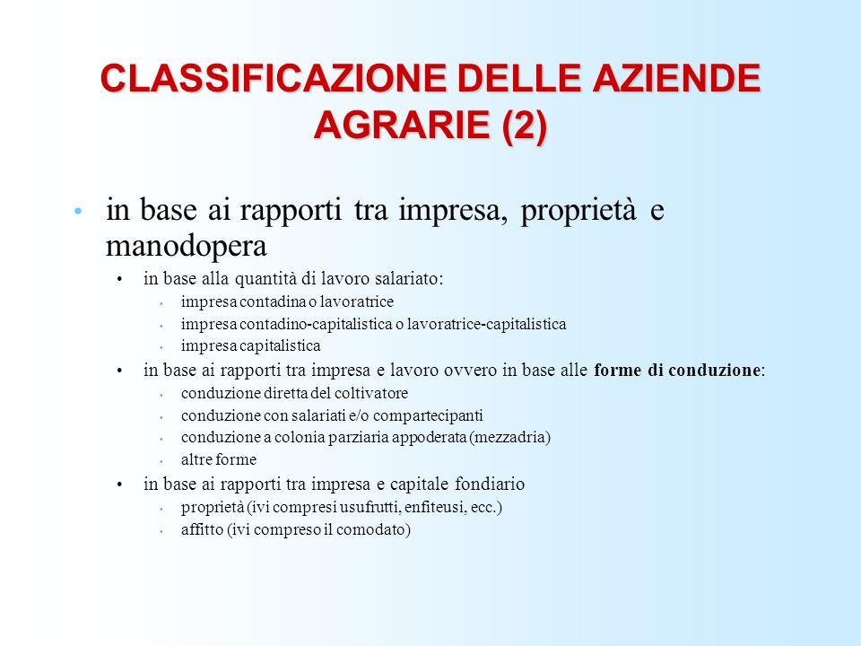 CLASSIFICAZIONE DELLE AZIENDE AGRARIE (2) in base ai rapporti tra impresa, proprietà e manodopera in base alla quantità di lavoro salariato: impresa c