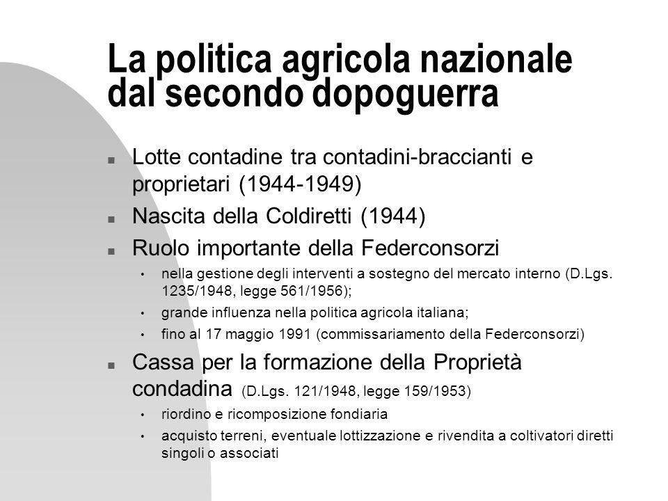 La politica agricola nazionale dal secondo dopoguerra n Lotte contadine tra contadini-braccianti e proprietari (1944-1949) n Nascita della Coldiretti