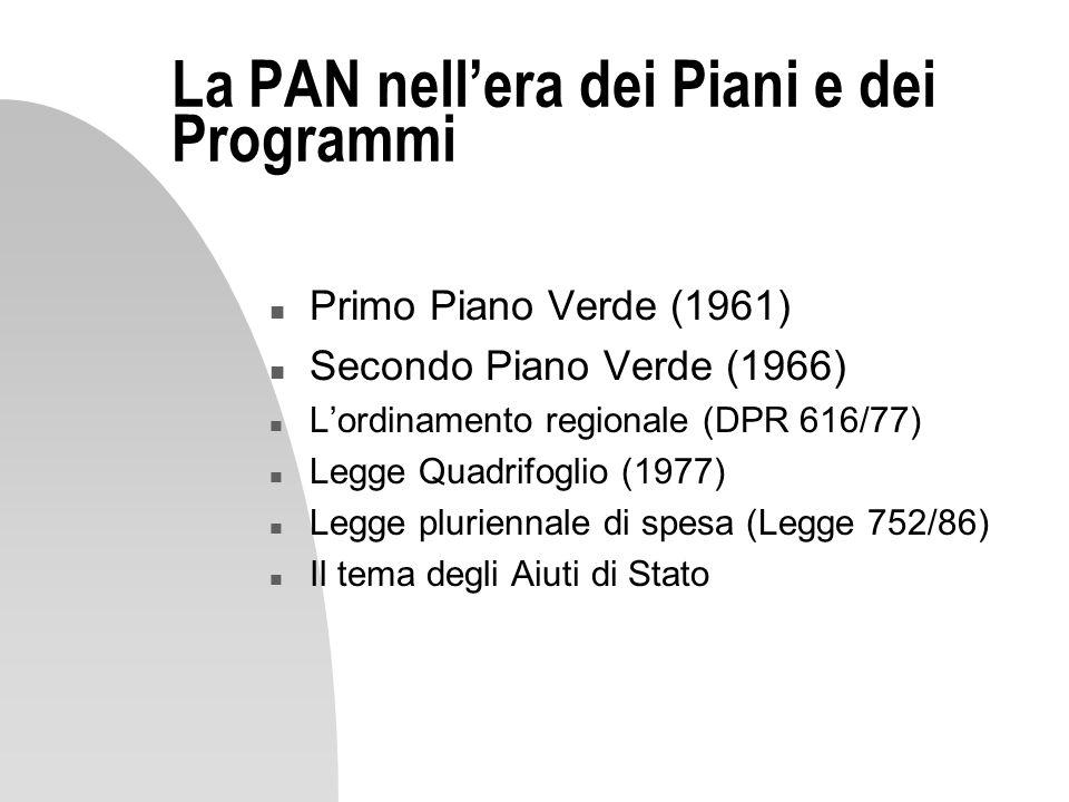 La PAN nellera dei Piani e dei Programmi n Primo Piano Verde (1961) n Secondo Piano Verde (1966) n Lordinamento regionale (DPR 616/77) n Legge Quadrif