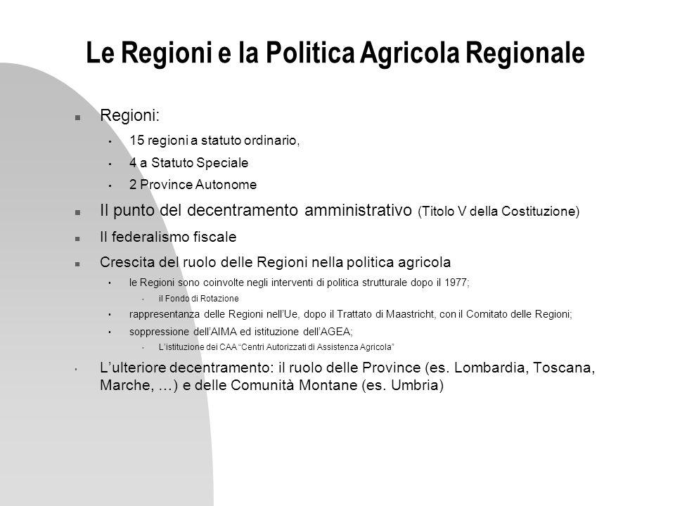 Le Regioni e la Politica Agricola Regionale n Regioni: 15 regioni a statuto ordinario, 4 a Statuto Speciale 2 Province Autonome n Il punto del decentr