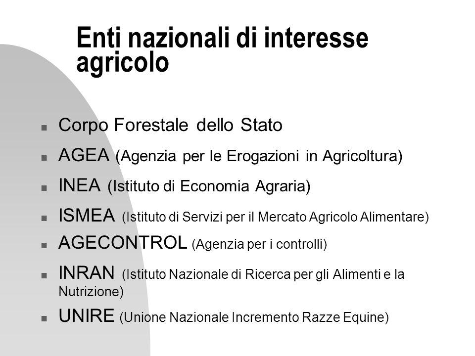 Enti nazionali di interesse agricolo n Corpo Forestale dello Stato n AGEA (Agenzia per le Erogazioni in Agricoltura) n INEA (Istituto di Economia Agra