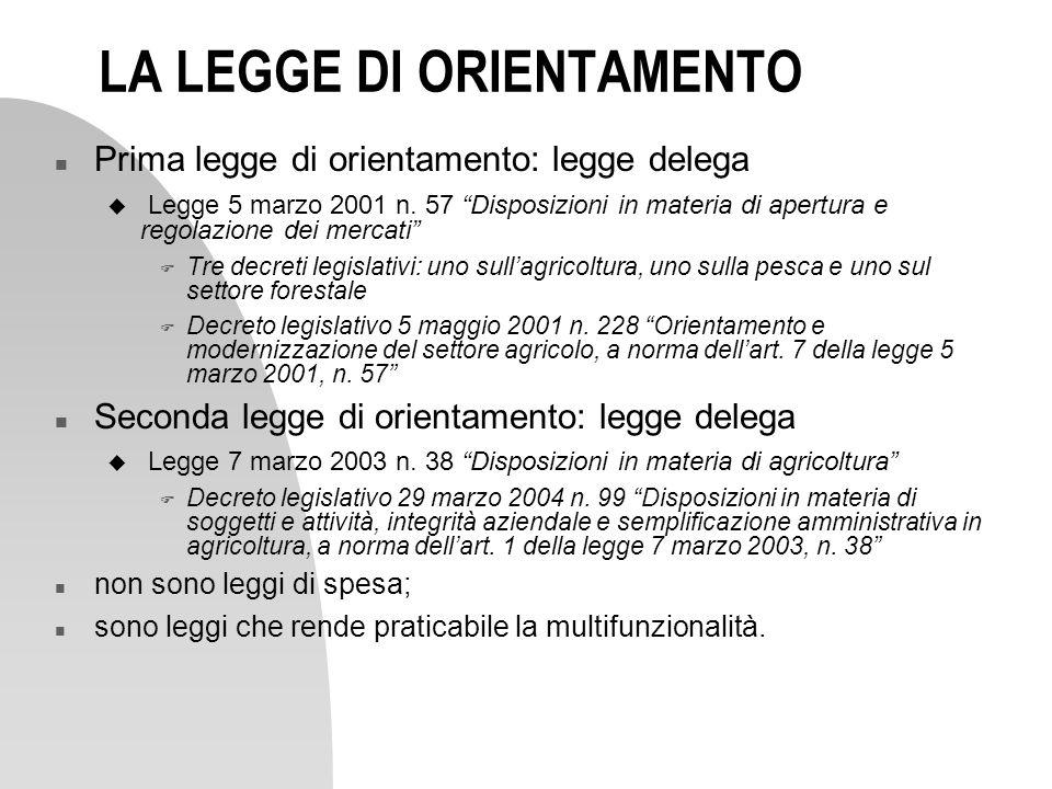 LA LEGGE DI ORIENTAMENTO n Prima legge di orientamento: legge delega u Legge 5 marzo 2001 n. 57 Disposizioni in materia di apertura e regolazione dei